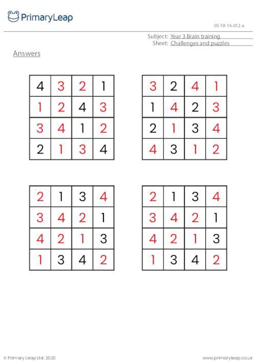 Sudoku 4 x 4 puzzle - Dinosaur theme