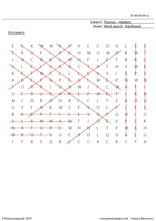 Word Search - Rainforest