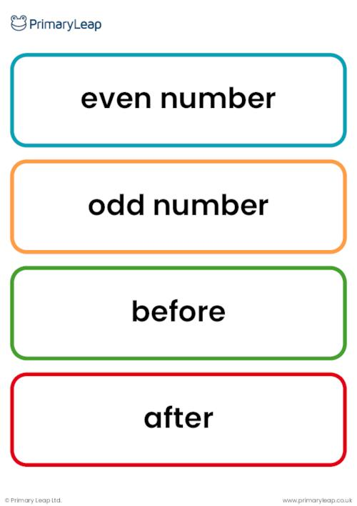 KS1 number work vocabulary cards