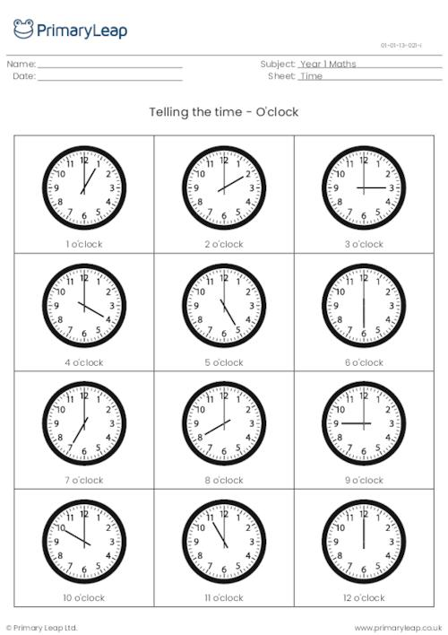 Telling The Time Information Sheet - O'clock