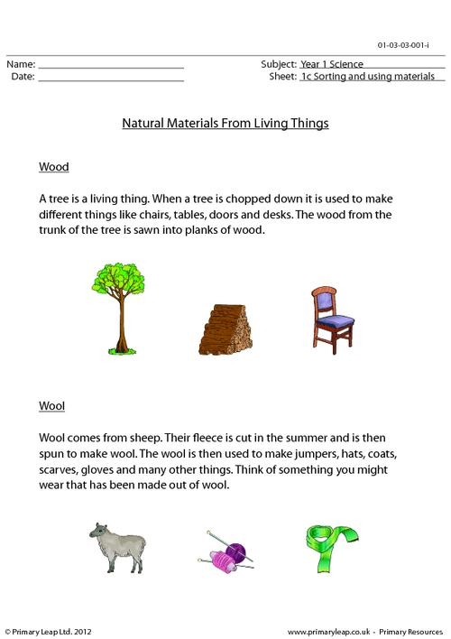 Natural materials from living things
