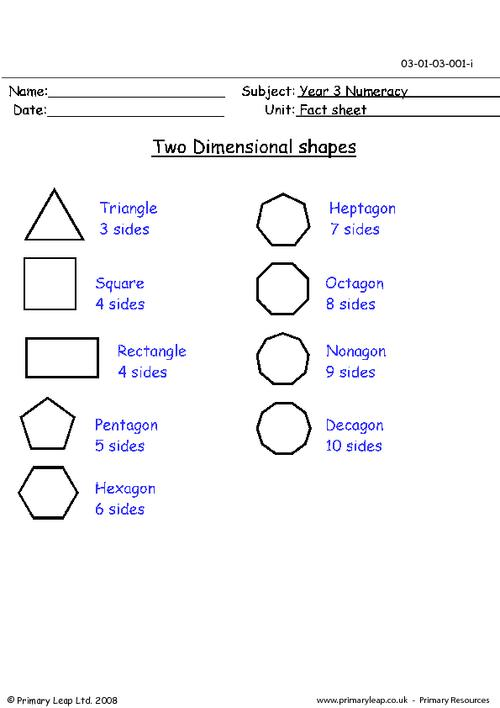 Two dimensional shapes (2-D)