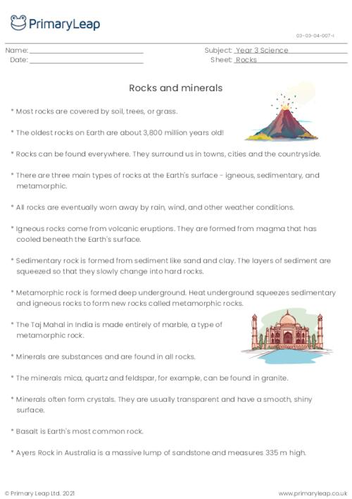 Rocks and Minerals - Fact sheet