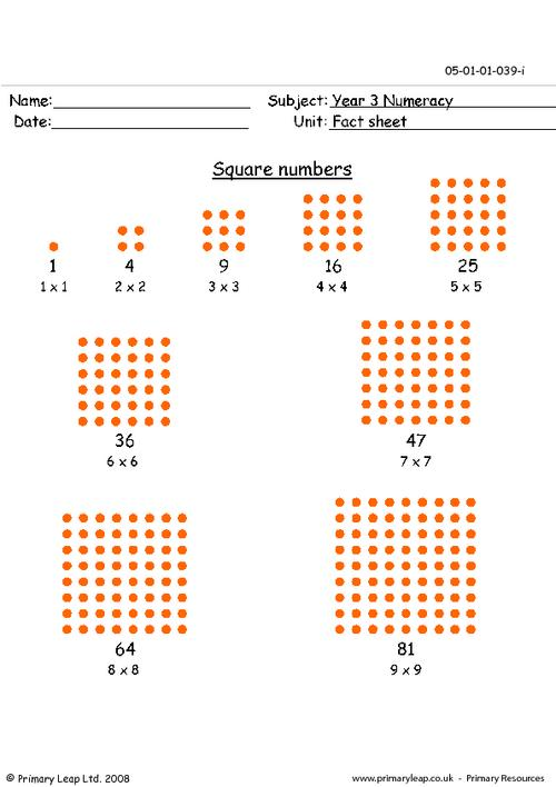 Square numbers info sheet