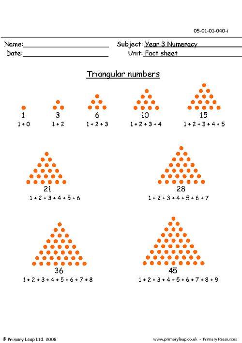 Triangular numbers info sheet