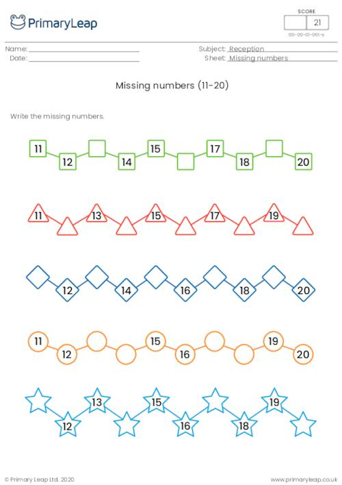 Missing numbers (11-20)