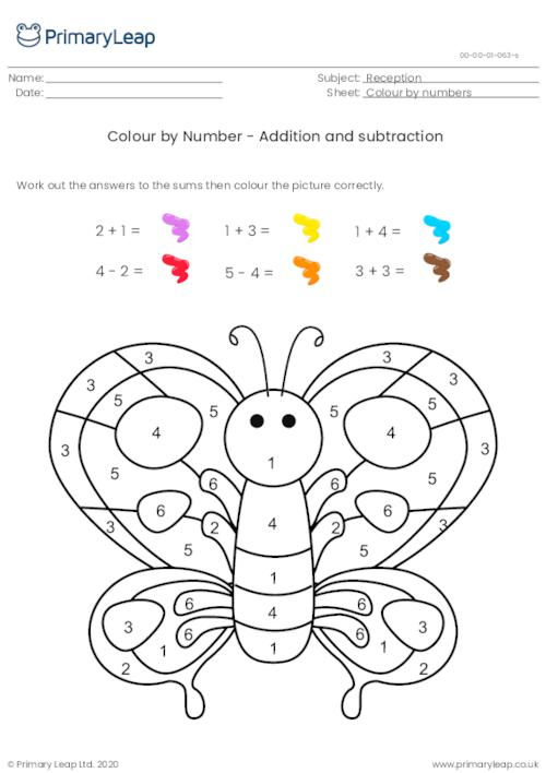 Colour by Number - Addition and subtraction (butterfly)