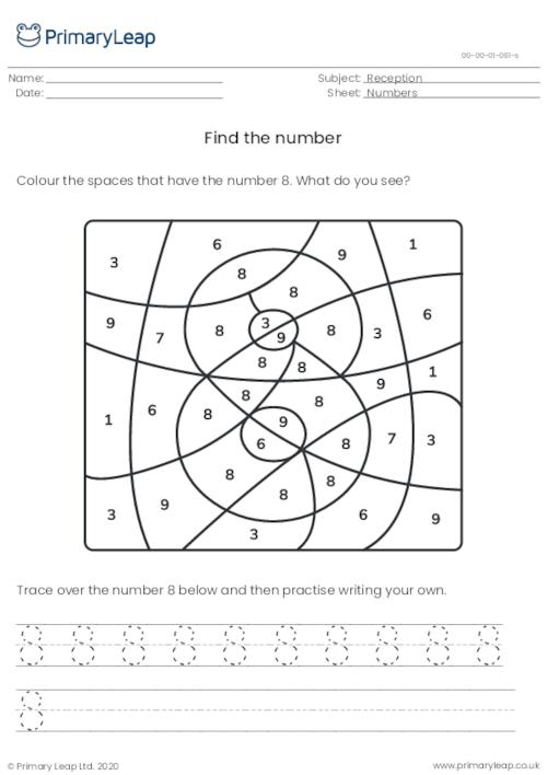 Find and trace the number 8
