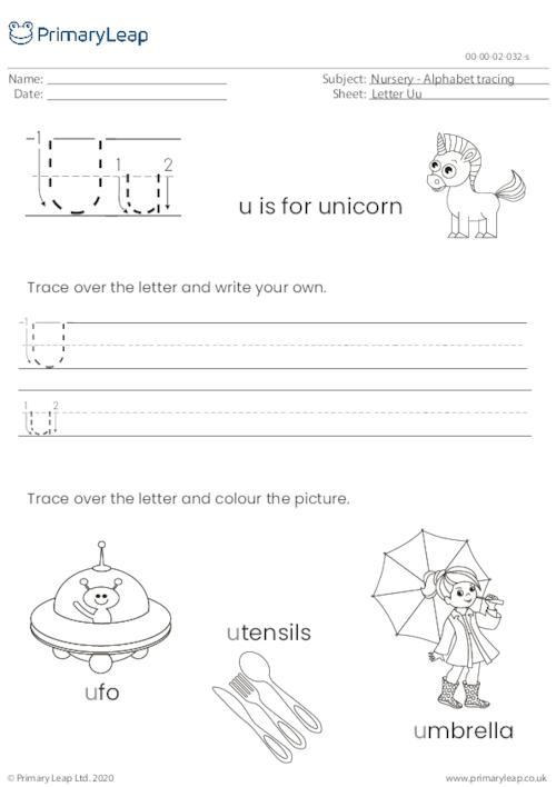 Alphabet tracing - Letter Uu