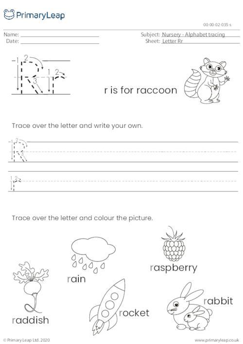 Alphabet tracing - Letter Rr
