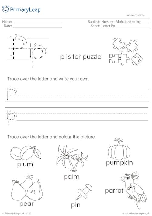 Alphabet tracing - Letter Pp