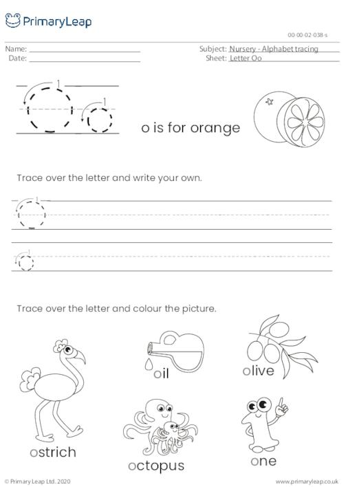 Alphabet tracing - Letter Oo