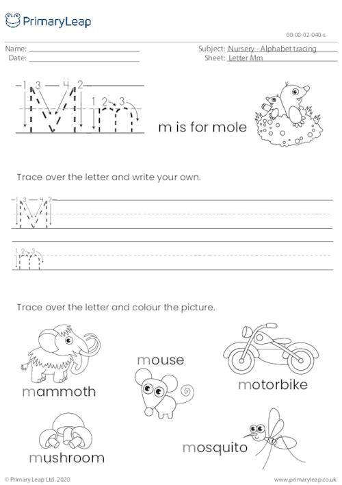 Alphabet tracing - Letter Mm