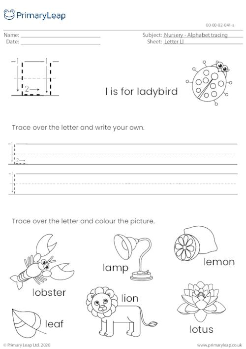 Alphabet tracing - Letter Ll