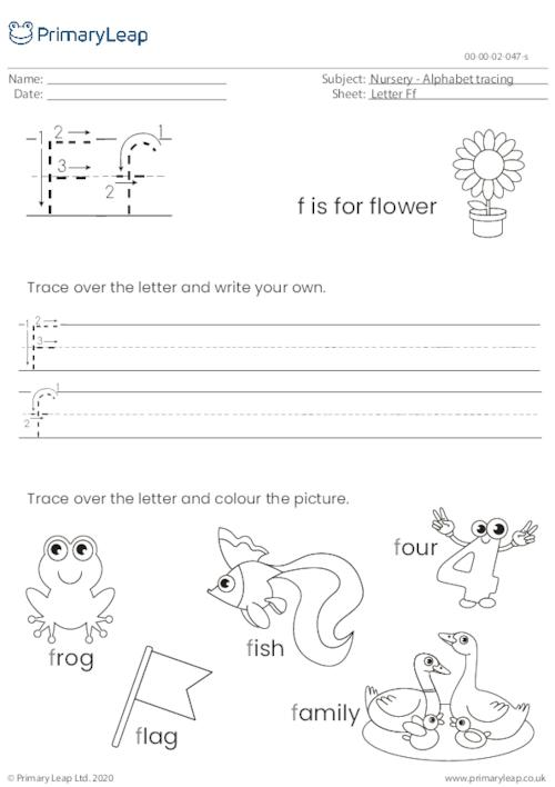 Alphabet tracing - Letter Ff