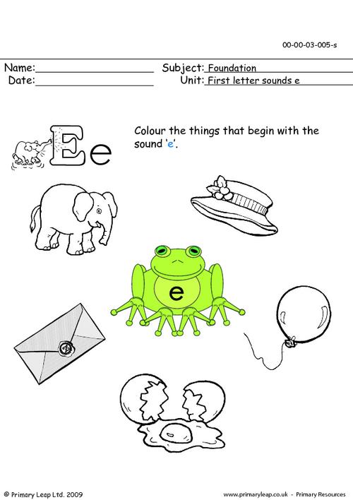 First letter sounds Ee