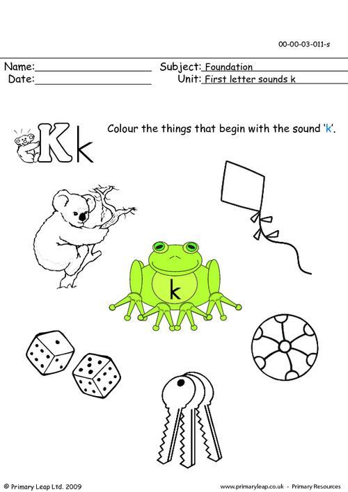 First letter sounds Kk