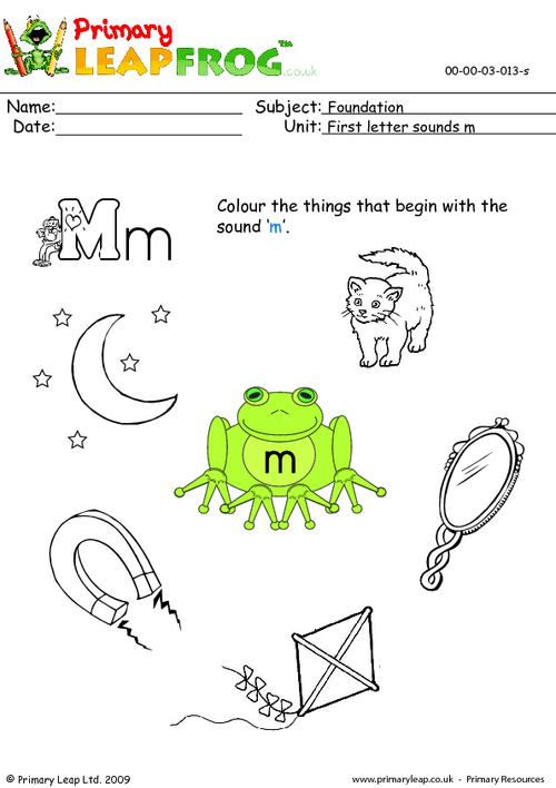 First letter sounds Mm