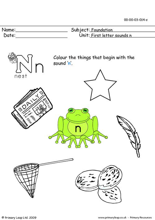 First letter sounds Nn