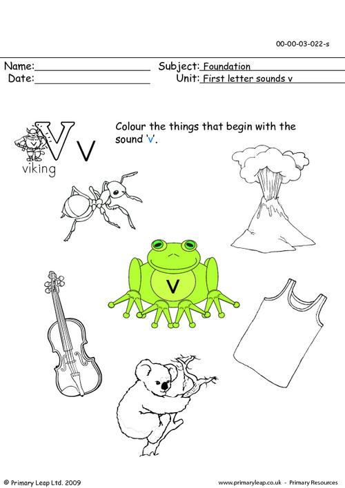First letter sounds Vv