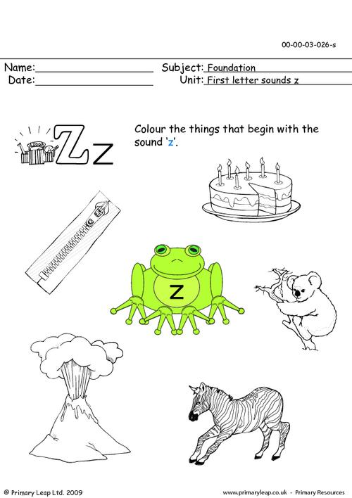 First letter sounds Zz