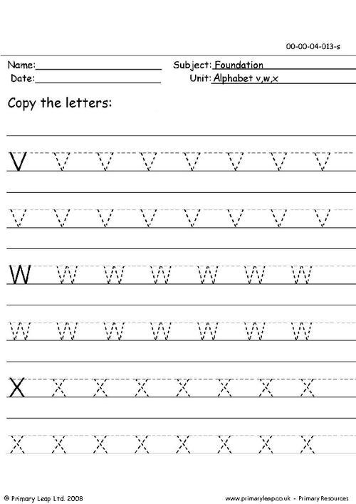 Pencil skills 13 v,w,x