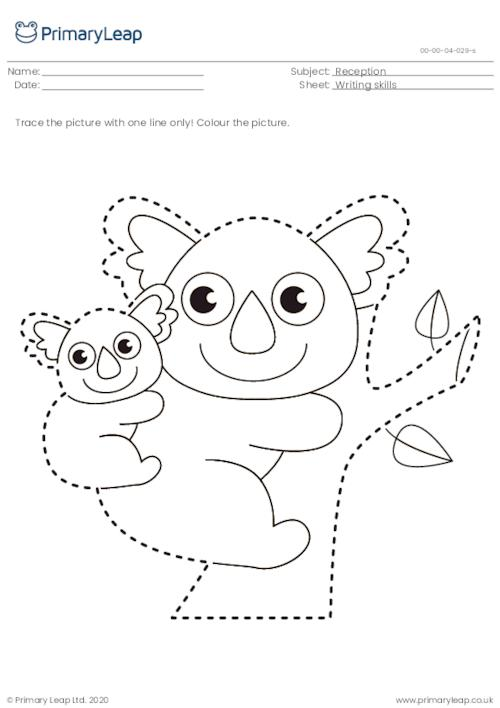 Trace and colour - Mother koala bear with joey