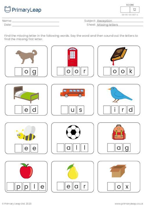 Foundation: Missing Letters First Letter Sound Worksheet PrimaryLeap.co. Uk