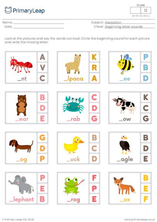 Beginning letter sounds (a, b, c, d, e, f)