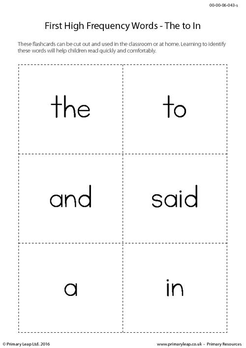 High Frequency Words - The to In