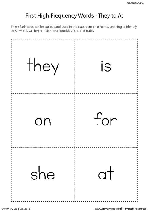 High Frequency Words - They to At