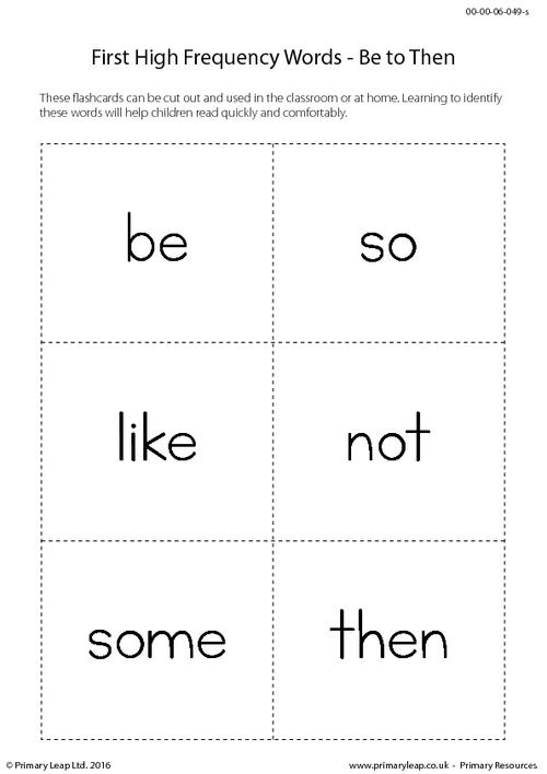 High Frequency Words - Be to Then