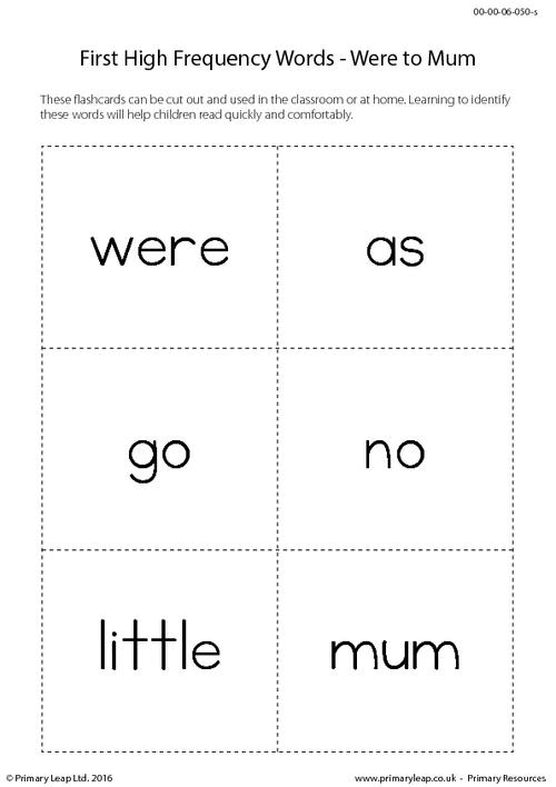 High Frequency Words - Were to Mum