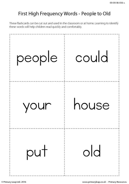 High Frequency Words - People to Old