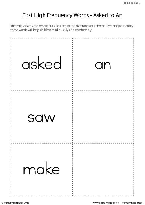 High Frequency Words - Asked to An