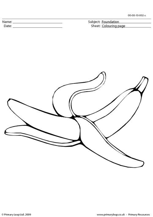 Banana colouring page