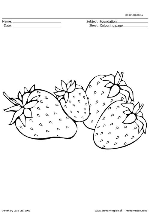 Strawberries colouring page