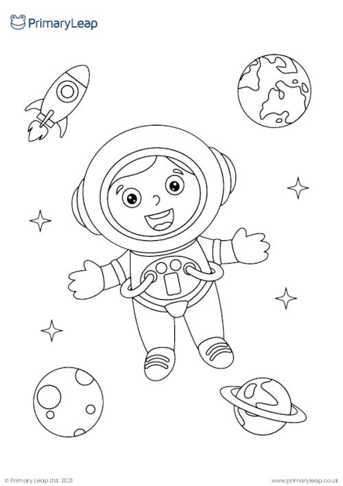 Astronaut colouring page