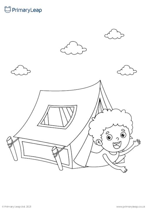 Camping colouring page