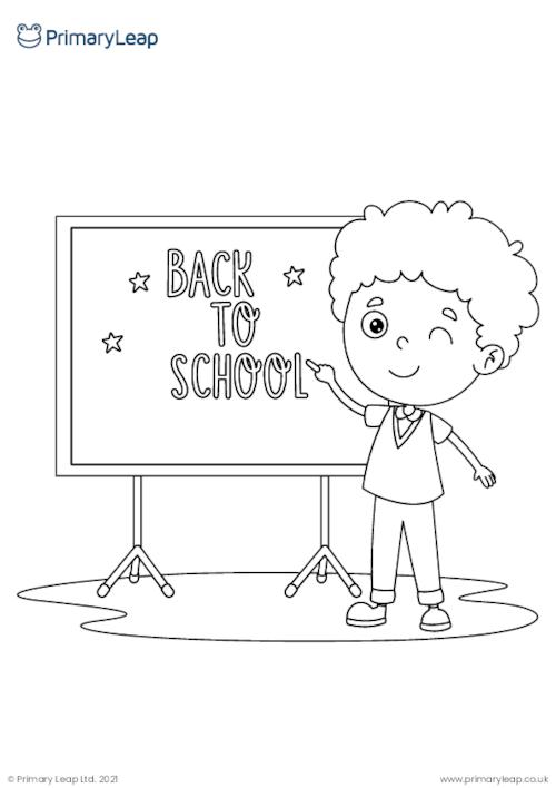Back to school colouring page
