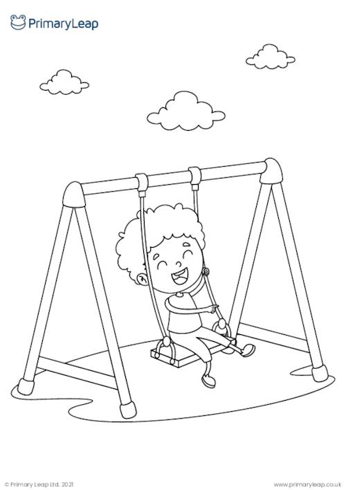 Fun at the park 2 colouring page