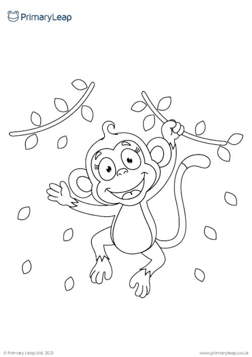 Monkey 2 colouring page