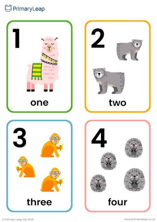 Animal number flashcards 1 - 10