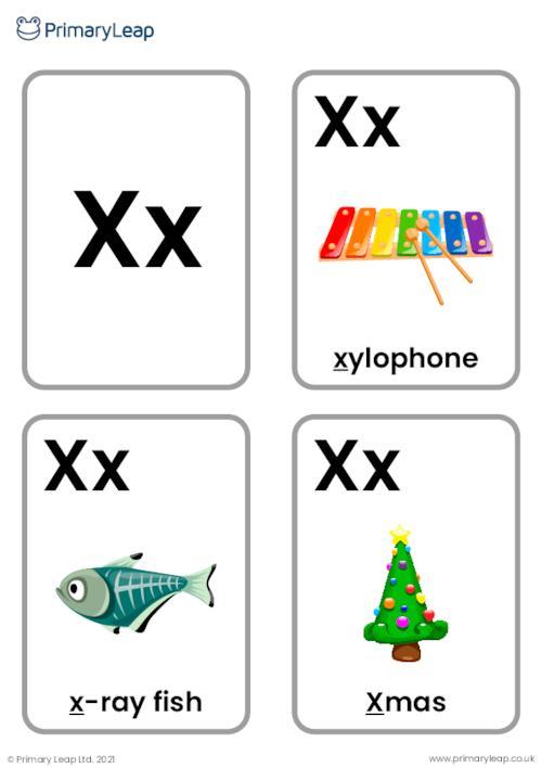 X sound flashcards