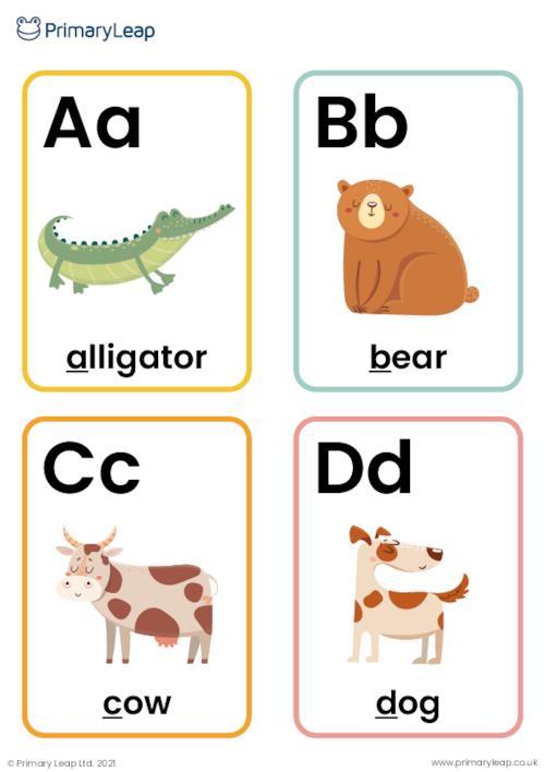 Animal alphabet flashcards A-Z