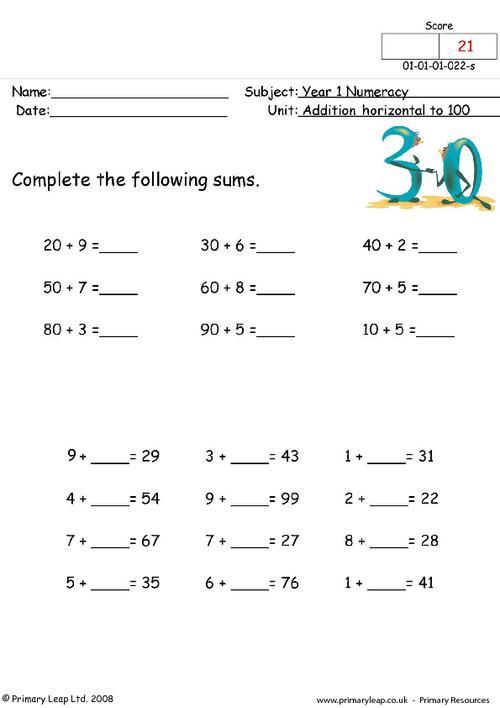 Addition horizontal to 100  1