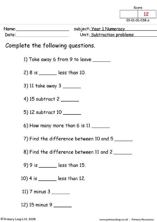 Subtraction problems 1