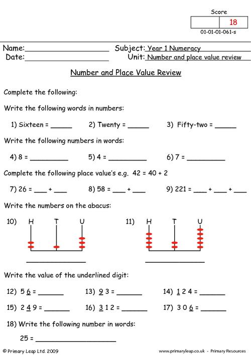 Number and place value review