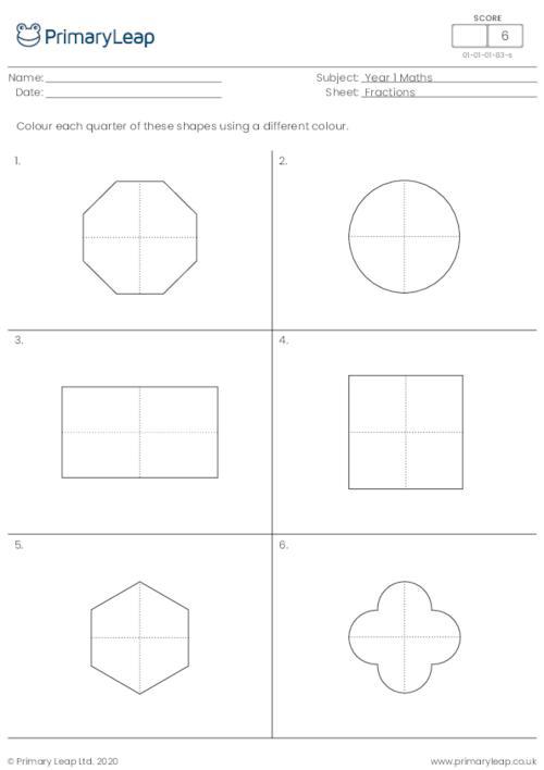 Colour a quarter of each shape