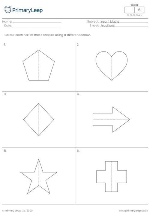 Colour half of each shape